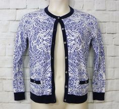 Womens LANDS END Blue White Supima Cotton Button Front Cardigan Sweater SZ S 6-8 #LandsEnd #Cardigan #CasualWork