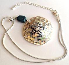 Silver Sand Dollar Shell Necklace Pendant Beach Sea Life Green Stone USA Seller #Pendant
