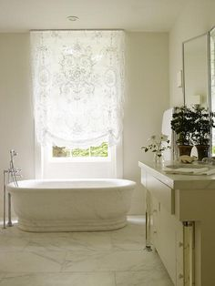 French Bathroom #French #Bathroom---SO GORGEOUS! Love the lace curtains!!