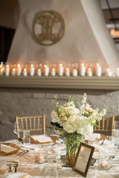 Candles on the mantle make this space even more romantic. Add that personal touch with a monogram. Weddings in the Private Dining Room at Park Hyatt Beaver Creek Resort & Spa in Colorado