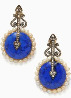 Lapis, Pearl, and Diamond Earrings, of antique elements, each circular lapis cabochon with pearl frame and rose-cut diamonds, silver-topped gold mounts, lg. 1 5/8 in.