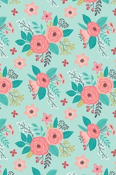 Vintage Antique Floral Flowers on Mint by caja_design - Hand illustrated flower design on fabric, wallpaper, and gift wrap. Whimsical flower drawing in pink, turquoise, yellow, and white in a modern playful style.