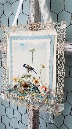 Chickadee This listing is for ONE bird banner, the Chickadee as shown in photo one  This gorgeous little banner is the perfect way to show your love of birds. It started with a sweet vintage tattered and stained linen and lace piece as the base. A beautiful vintage illustrated card of a Chickadee was hand stitched with the wonderful lace making a pretty frame around it. Atop of the card at the bottom are layers and layers of antique and vintage lace, trims, crochet, tatting, and ribbon in…
