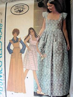 Vintage Boho Maxi Jumper Dress by Laura Ashley McCalls 4549 Sewing Pattern by PeoplePackages Vintage Dress Patterns, Clothing Patterns, Vintage Dresses, Vintage Outfits, Laura Ashley Patterns, Laura Ashley 70s, Laura Ashley Vintage Dress, Laura Ashley Fashion, Ashley Blue