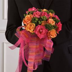 etsy+pink+and+orange+flower+bouquets | pink and orange bridesmaid bouquet