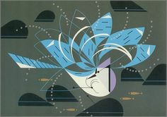Blue Jay Bathing by Charley Harper, 1971.