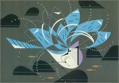 Blue Jay Bathing by Charley Harper, 1971.