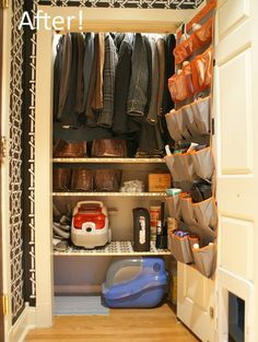 Before & After: A Pretty, Organized Hallway Closet  idea of moving rod way up and adding shelves below