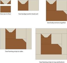 """Patchwork Cat Quilt Block Pattern; I think this would be pretty cool made into a """"Cat Star"""" block of four per block."""