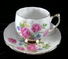 Royal Vale Tea Cups | Vintage Royal Vale Tea Cup and Saucer - Pink Roses #RoyalVale