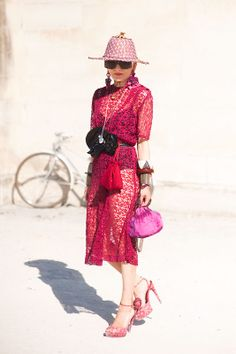 Pink and red a la #CatherineBaba. superstar. Paris.