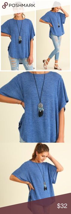 🆕🍂Perfect for Fall! Blue Lightweight Top Blue Oversized High Low Top with Flowy Sleeves. Great for Fall!! Slightly Sheer & Lightweight. 90% Polyester 6% Rayon 4% Spandex Tops