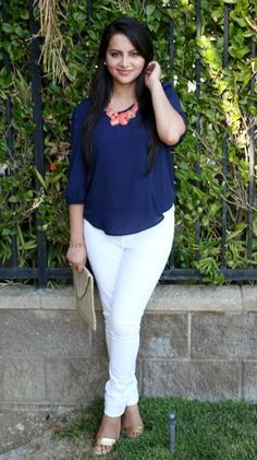 Outfit of the Day: Navy Blue Blouse.The blouse is chiffon material and it very lightweight and breezy, perfect for a hot summer day/evening. Blue Blouse Outfit, Navy Blue Blouse, White Pants, White Denim, Chiffon Material, Navy Tops, Fashion Pants, Casual Outfits, Work Outfits