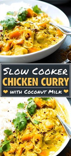 Easy Slow Cooker Chicken Curry Recipe Slow Cooker Chicken Curry recipe that is made with coconut milk, sweet potatoes, and cooked in a Crock-Pot! This easy coconut milk yellow curry is a gluten free,. Crock Pot Curry, Slow Cooker Chicken Curry, Skillet Chicken, Easy Chicken Recipes, Easy Healthy Recipes, Recipe Chicken, Healthy Slow Cooker, Slow Cooker Recipes, Crockpot Recipes Gluten Free