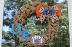 University of Florida Burlap Wreath - Football wreath - Florida Gator's Wreath - Orange and Blue