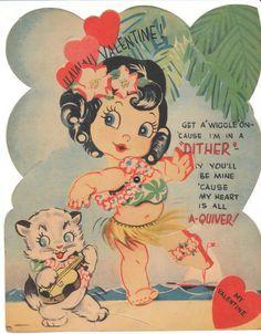 Vintage Valentine Card Hula Girl Cat with Ukulele Mechanical Hawaii Hawaiiana | eBay
