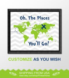 inspirational oh the places you will go print dr seuss nursery art baby boy nursery world map boys room decor chevron baby gift child decor by PinkeeHome