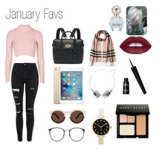 """""""January Favs"""" by queenpaola ❤ liked on Polyvore featuring moda, Topshop, Mulberry, Illesteva, Burberry, Linda Farrow, Marc by Marc Jacobs, Bobbi Brown Cosmetics, Marc Jacobs ve women's clothing"""