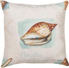 "SLCJSH 18"" x 18"" Coastal Jewels  Shell Indoor/Outdoor PillowOriginal Artwork © Lisa Audit, Licensed by Wild Apple                                                        beachy"