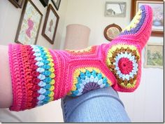Hexagon Granny Square Crochet Slipper Boots
