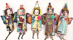 Mixed media art dolls inspired by Mary Jane Chadbourne