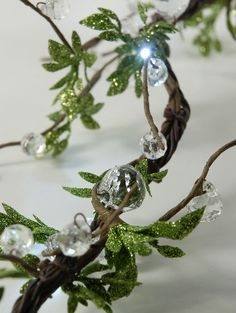Crystal Willow Garland 4 ft Clear LED Lights (battery operated) $27