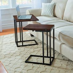 Expanding Tray Table has a flip-open top to give you lots of extra elbow room. Use as a side table, TV tray table, or end table. Tv Tray Table, Couch Table, Slab Table, At Home Furniture Store, Space Saving Furniture, Table Furniture, Gold Furniture, Apartment Furniture, Furniture Ideas