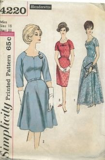 An original ca. 1960's Simplicity Pattern 4220.  All views have shaped neckline, raglan sleeves and left side zipper closing.  V. 1 and 2 have slightly flared four gore skirt.  V. 1 evening gown has short sleeves and ribbon bow trim.  Ble tis of self fabric or purchased belt may be worn.  V. 2 has below the elbow length sleeves and self fabric belt with bow trim.  V. 3 features short sleeves, bow trim and slim skirt with soft pleats at front waistline and back kick pleat.