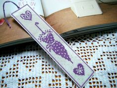 Umbrella Cross Stitch Bookmark, Elegant Cross Stitch Bookmark, Plastic Canvas Bookmark