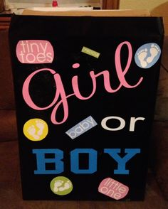 Gender reveal box (for balloon release). Some with Vinyl and misc decorations!