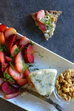 A Scandinavian-inspired appetizer perfect for the hot days of summer: Plums with Blue Cheese, Walnuts, Crispbread, and Dill | Recipe at Outside Oslo