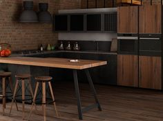 Wooden fitted kitchen OLTRE INDUSTRIAL by Cucine Lube