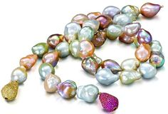 Pearls - Yvel  Two strands of pinkish hued baroque south sea pearls