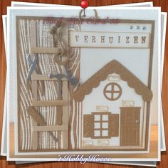 Tool Man Card 15. Moving to a New Home. The house is made with the double dies from Craft Unlimited from the Boekenvoordeel, nr 4953018. DIY 't HobbyHoees 24 april 2015