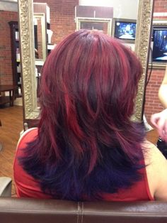 purple to red ombre hair | Red streaked hair with dark purple ombre, done by Zoe Salon in Fair ...