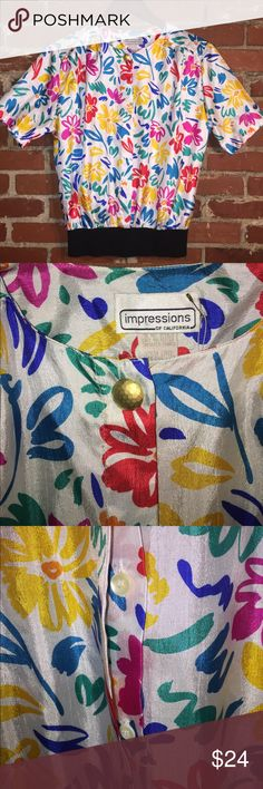 *vintage* 80's sporty blouse nwot Like new (w/o tags) silky polyester button up (hidden buttons) top with banded bottom. Medium/8 Vintage Tops Blouses