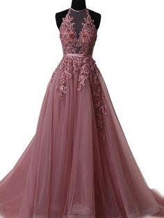 Halter Appliques Lace-up Long Prom Dress Sexy Evening Dresses,ED21002 #promdresses #fashion #shopping #dresses #eveningdresses