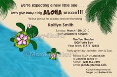 Baby Shower Invitation Honu Adorable Turtle theme by monkeyhut, $16.00