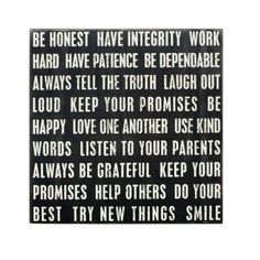Wood Sign - Be Honest, Have Integrity, Work Hard - Great gift for a Grad.