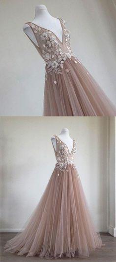 Champagne tulle V neck long evening dress, champagne 3D appliques prom dress #prom #dress #promdress #promdresses