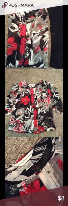 Sheer dressy top with pleat detail Lightweight, floral, dressy top. Perfect for the office. Can also be dressed down. Nice piece for layering. Great shape and hardly worn. Smoke free. Pleat detail down the front and button closure. Bust measures 20 inches laid flat. Hips are 21. Length is 26. Have questions? Feel free to ask. Offers welcome. Bundle to save. Thank you for stopping by. Have a wonderful day! Christopher & Banks Tops Button Down Shirts