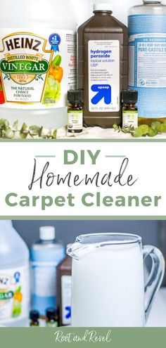 Get those tough stains out of your carpet safely and naturally with this homemade DIY carpet cleaner! It uses only all natural ingredients and and works just as well as the store bought cleaners that are full of toxic chemicals. This cleaner is safe, effective, and will get your carpet looking like new in no time! Check out this and other all natural home cleaning recipes at Root + Revel!