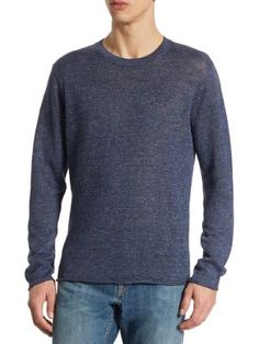 VINCE Raw Edge Heathered Linen Tee. #vince #cloth #tee