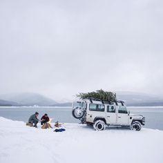 Erleben Sie den Weihnachtszauber mit #LandRover.  #AboveAndBeyond #Defender #christmas #christmastree #snow  @alexstrohl by landroverde