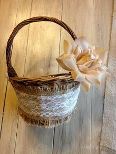 Burlap and Lace Flower Girl Basket   Burlap and Lace Flower Girl Basket