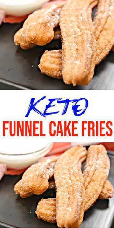 Funnel Cakes, Funnel Cake Fries, Keto Desserts, Keto Snacks, Yummy Snacks, Low Carb Keto, Low Carb Recipes, Breakfast Recipes, Breakfast Cake
