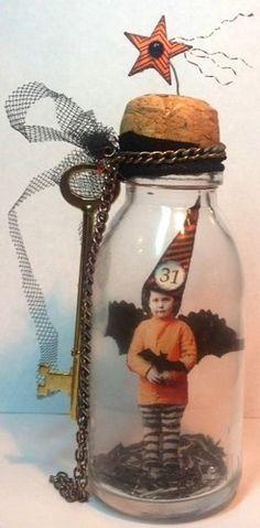*stella_bella* ebay artist. Fairy HALLOWEEN Witch CAPTURED Bottle Original Mixed Media Altered aRt Collage