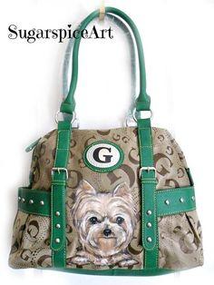 Yorkie Hand Painted Satchel Purse Handbag Dog Art by SugarspiceArt