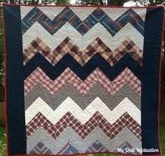 My Quilt Infatuation: Men's shirt Chevron Quilt- Preppy Plaid Chevrons