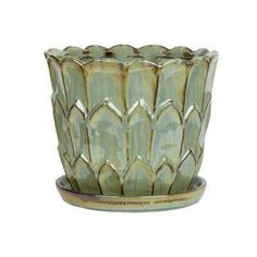 Central Garden and Pet 10 in. Ceramic Artichoke Planter 100523132 at The Home Depot - Mobile Resin Planters, Plastic Planter, Indoor Planters, Planter Pots, Orchid Pot, Square Planters, All Plants, Muted Colors, Green And Grey